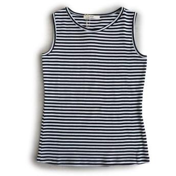 (スプル) Souple タンクトップ タンク 胸元 見えない カバー Uネック 綿100% 無地 ボーダー柄 L/-02 X51/ブラック×ホワイト