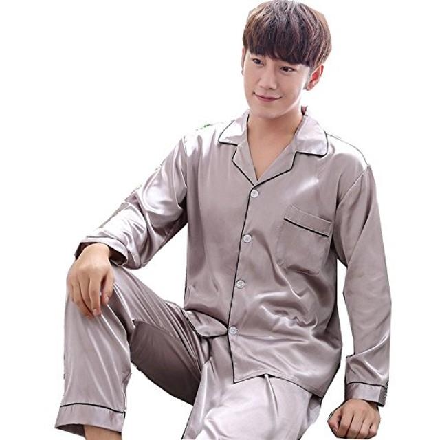 シルク パジャマ メンズ レディース 光沢があり心地よい肌さわり 前開き  長袖 上下セット 絹 ペアルック ルームウェア エレガント 部屋着 無地 純色 M-XXXLパープル グレー/メンズ L