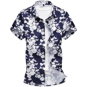 PP&DD アロハシャツ 半袖 メンズ ハワイ風 綿麻 サーフ おしゃれ ゆったり カジュアル 通気速乾 リゾート風 バラ柄 5015 (XL, ネイビー)