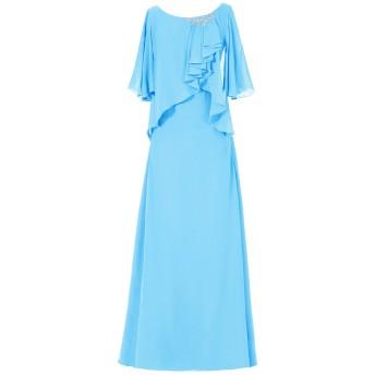 Dresstell(ドレステル) 結婚式 フォーマルドレス ドルマンスリーブ シフォン ビジュー付き ママのタイプ レディース ブルー 13号