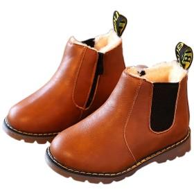 Plus Nao(プラスナオ) サイドゴアブーツ ショートブーツ 内ボアブーツ 子供用 子供靴 ショート丈 定番 シンプル ローヒール ぺたんこ フラ ブラウン【ボア】 22
