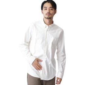 (モノマート) MONO-MART ハイストレッチ L/S オックスフォード シャツ バンドカラー ボタンダウン オックスシャツ メンズ【ボタンダウン】オフホワイト XLサイズ