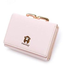 店舗 三つ折りミニ財布レディース2WAY財布かわいい多機能カードポケット小銭入れの写真を財布大容量の小型・軽量ギフト10.6  8.4 3.3センチメートル猿ピンク ピンク