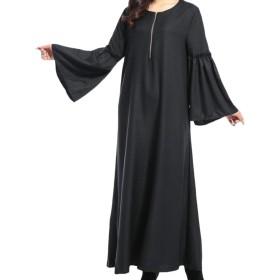 cheelot 女性イスラム教徒ルーズフィットマキシロングイスラムabaya Black L