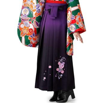 [オオキニ] 袴 刺繍袴 卒業式 女性 レディース 単品 ぼかし 鞠 桜 (SS,【3】濃紫 紫)