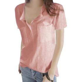 [Minesam] Tシャツ レディース コットン トップス インナーシャツ ベーシックシャツ ゆったり Vネック 薄手 長袖 シンプル カジュアル (XL, 半袖 ピンク)