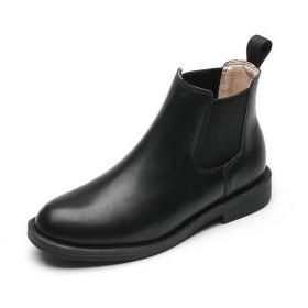 [Placck] レディースショートブーツ 防水 秋冬靴 サイドゴア カジュアルチェルシーブーツ 黒 大きいサイズ 通勤 通学 Hei37
