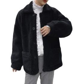 (ニカ) ラシャコート 冬 厚手 メンズ ロングコート 無地 アウター 韓国風 暖かい カッコイイ オーバーコート スリム ふわふわ もこもこブラックT1