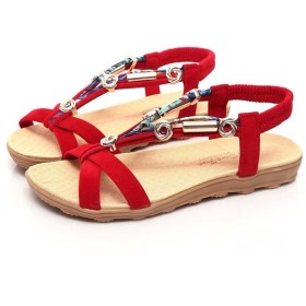 [Aijoo] 通勤靴 おしゃれ 流行 カジュアル サンダル 旅行 シンプル 可愛らし 歩きやすい ローヒール 便利 シューズ スリッポン パンプス フラット オフィス キッズ ベランダ スリッパ 包帯 ラウンド (40, 赤い)