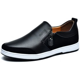 [XINXIKEJI] メンズ シークレットシューズ 6.0cmアップ スリッポン ファスナー付き モカシン ローファー 通勤/ビジネス 滑り止め 通気 軽量 快適 歩きやすい 紳士靴 カジュアル オシャレ 25.0cm ブラック