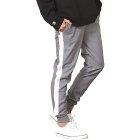 ジョーカーセレクト(JOKER Select) ラインパンツ メンズ ジョガーパンツ サイドライン スリム スキニー 細身 L グレー/ホワイト