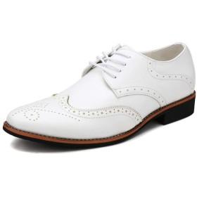 [Yikaifei] ブローグ シューズメンズ ビジネスシューズ 紳士靴 ファッション ストレートチップ レースアップ 就活 普段用 ホワイト 26.5cm