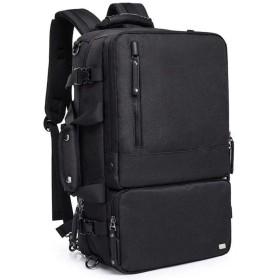 3WAY リュック ビジネスバッグ ショルダー PCバッグ 手さげ 大容量 17.3インチ対応 盗難防止 USB充電ポート イヤホンホール付き キャリーサポーター付き 撥水 出張 通勤 通学 旅行 リュックサック メンズ 2色 (ブラック)