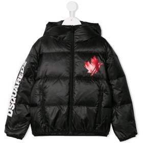 Dsquared2 Kids パデッド フーデッドジャケット - ブラック