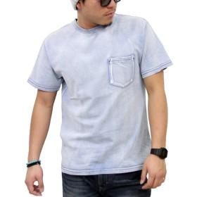 (リアルコンテンツ)REAL CONTENTS 半袖 Tシャツ メンズ インディゴ染 ポケット付 綿100% カットソー 77-y536-rc (M, BLUE)