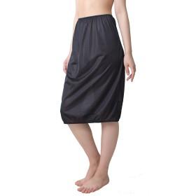 [ジャコンヌ] トイレで便利な裾ゴム入り ペチスカート ペチコート (65cm丈) M ブラック 2786