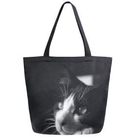 トートバッグ 猫柄 動物 黒 キャンバスバッグ レディース 大容量 2way 帆布 サブバッグ 多機能バッグ