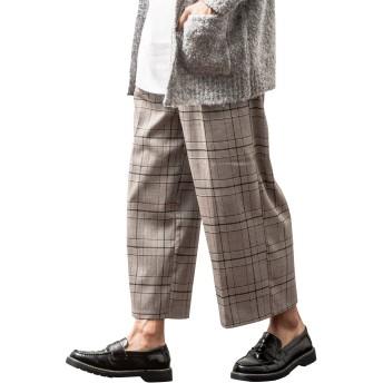 ジョーカーセレクト(JOKER Select) グレンチェックTRガウチョパンツ メンズ ワイドパンツ M ブラウン