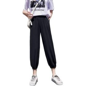 [ンーセンー] 夏服 ゆったり 薄い ワイドパンツ ニッカーボッカー スキニーパンツ レディース ハイウェスト シフォン ストレート ハーレムパンツ 九分丈 ブラックM