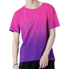 FOMANSH ティーシャツ メンズ 半袖 カジュアル Tシャツ 夏 グラデーション 6色展開 シルエット 大きいサイズ S-5XL 柔らかい