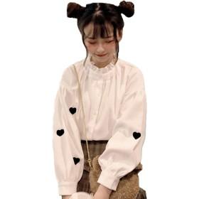 YiTong レディース シャツ ブラウス 可愛い トップス 春 韓国風 フリル立ち襟 フリル学生 大人 通学 カジュアル おしゃれ 薄手 刺繍 スリム ファッションホワイト