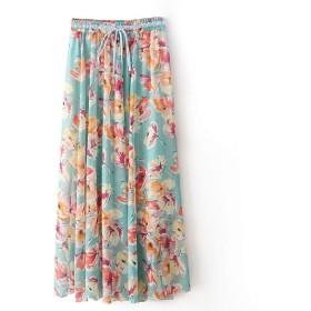cheelot 女性フルレングスビーチルーズ汎用花春ミニスカート AS6 S