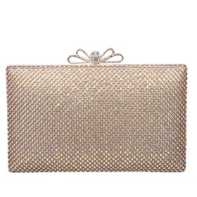 (ファウジーヤ)Fawziya リボンつきバッグ かわいい 安い 結婚式 パーティバッグ クラッチバッグ 大きめ-ABゴールド