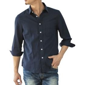 (アドミックス アトリエサブメン) ADMIX ATELIER SAB MEN メンズ シャツ 綿 麻 ストレッチ レギュラーカラー 7分袖 シャツ 02-04-8722 50(L) ネイビー