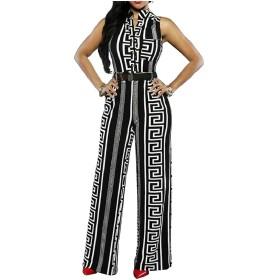Keaac Womens Sexy Sleeveless Floral Print Bodycon Long Pants Jumpsuit Romper Black M