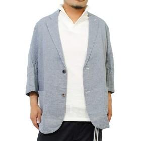 テーラードジャケット メンズ 大きいサイズ 七分袖 パナマ素材 薄手 サマー ジャケット 4L ブルー(67)