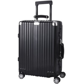 TABITORA(タビトラ) スーツケース ファスナーレス TSAロック 旅行用品 出張 超軽量 大容量 8輪 アルミフレーム ブラック m