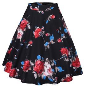 (デマ―クト)De.Markt スカート レディース Aライン ファッション 人気 膝丈 フラワー  ハイウェト花柄 きれい 美脚 可愛い 女性