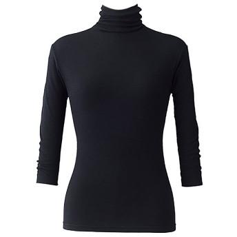 天使の綿シフォン レディースハイネック-7分袖 16色 (L, ブラック)