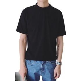 Spinas(スピナス) メンズ 半袖 モックネック Tシャツ 無地 ハイネック コットン 春 夏 全5色 (ブラック ホワイト ダークグリーン ピンク イエロー)