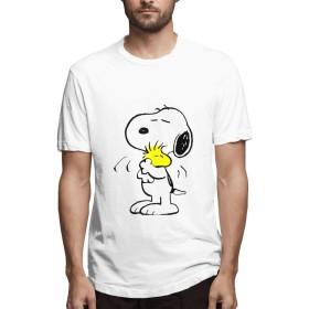 HAH Tシャツ メンズ 半袖 SNOOPY メンズシャツ シャツ メンズファッション Tシャツ メンズ 肌着 半袖 無地 カジュアル ファション おしゃれ 五分袖 夏 White XL