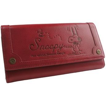 [スヌーピー] SNOOPY 財布 レディース 長財布 ロングウォレット フラップ かぶせ ヴィンテージ 型押し 刻印 シック カード入れ 小銭入れあり ジャバラ 女性用(レッド)