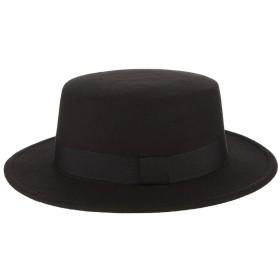 C-Princess フェルトハット 中折れハット ボーラーハット カンカン帽 つば広 帽子 紳士帽 レディース メンズ リボン レトロ 可愛い 小顔効果 秋冬 ブラック