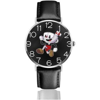 腕時計 時計 PU 腕時計バンド メンズ レディース クォーツ時計 紳士 恋人 記念日 誕生日プレゼント シンプル ビジネス ファッション - Cup Head カップヘッド