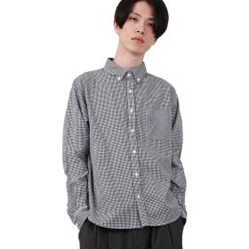 [ロッキーモンロー] ボタンダウンシャツ 長袖 メンズ チェック ネイビー XLサイズ