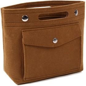 バッグインバッグ フェルト 小さめ 軽量 コンパクト レディース インナーバッグ バッグ内整理[FOOTSTEPS] (ブラウン)