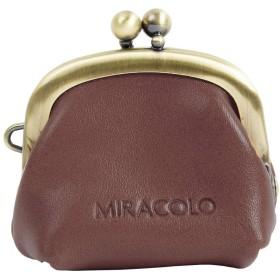 MIRACOLO イタリアンレザー 本革 コインケース 小さいがまぐち ミニポーチ 小物入れ ピルケース アクセサリー入れ レディース ダークブラウン