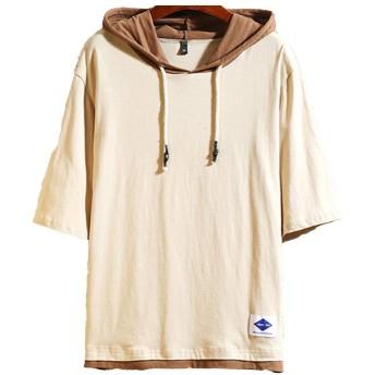 夏服 メンズ Tシャツ 半袖 無地 七分袖 パーカー おしゃれ 大きいサイズ カットソートップス フード付き インナー 春 夏 ゆったり カジュアル プルオーバー 杏 M