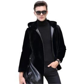 (グードコ) ファーコート メンズ 厚手 裏ボア 毛皮コート 裏起毛 ムートンコート 防寒ジャケット アウター パーカー フォーマル 通勤 ブラックA S