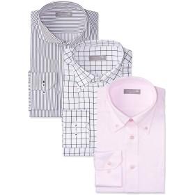 [ドレスコード101] 形態安定生地 ワイシャツ メンズ 長袖 3枚セット(豊富な8サイズ スリム) 透けにくいシャツ シャツセット 着こなし個性派セット 日本 スリムS (日本サイズS相当)