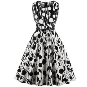 レディース ドレス レトロ 1950年代ラインハイウエストノースリーブプリントスウィングドレス(XXL)