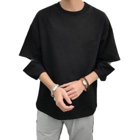 ZhongJue(ジュージェン) メンズ tシャツ ゆったり 7分袖 ダメージ加工 トップス カットソー 夏服 カジュアル プルオーバー ストリート Tシャツ 白Tシャツ(8黒)