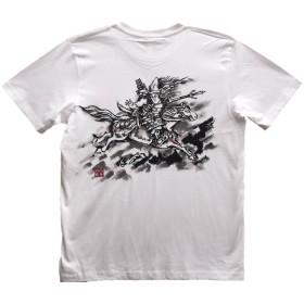 巴御前 ともえごぜん Tシャツ 白 半袖 和柄 日本画 武者絵 侍 手描き 墨絵 伯舟庵 (L, 白)