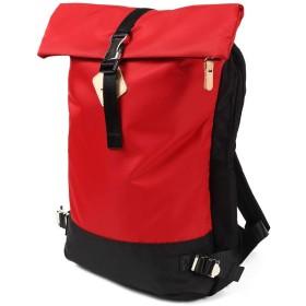 [PasoLigero] バックパック リュック デイパック ロールトップ バッグ メンズ レディース 撥水 ナイロン 軽量 A4サイズ 通勤 通学 人気 多機能 (Red (レッド))