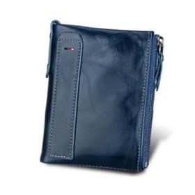 メンズ 財布 二つ折り 小銭入れ スリム コンパクト カジュアル ウォレット 【KINZOU】 (ブルー)