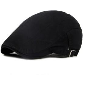 Kingsie ハンチング キャップ メンズ ゴルフ帽子 無地 アウトドア プレゼント 父の日 レディース  (ブラック)